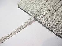 Тесьма декоративная Тасьма  декоративна шанель вузька 6мм, біла зі сріблом, фото 1