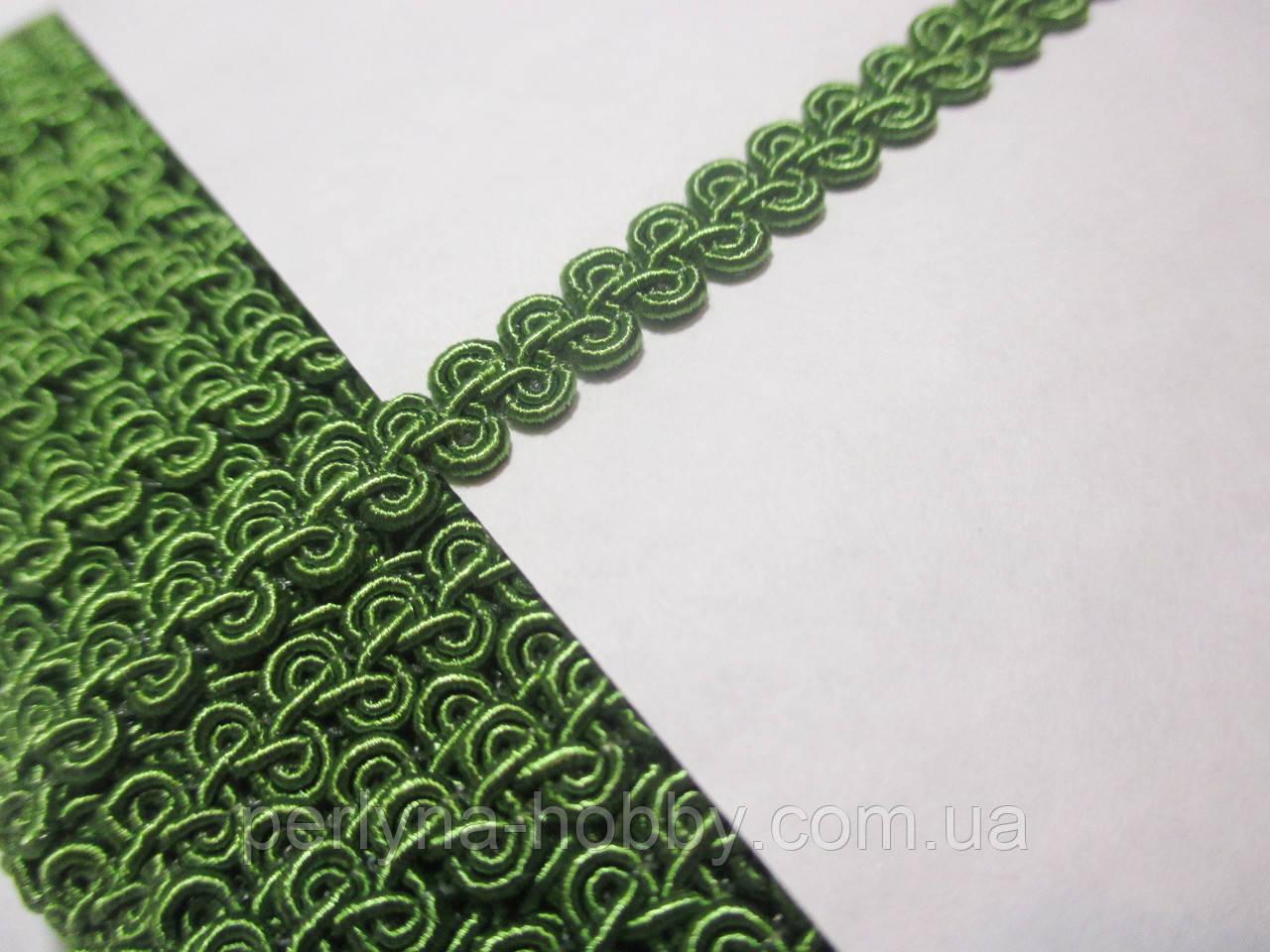 Тасьма декоративна Тасьма декоративна шанель вузька 6мм, зелена, горохова