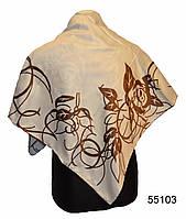 Шелковый бежевый атласный платок, фото 1