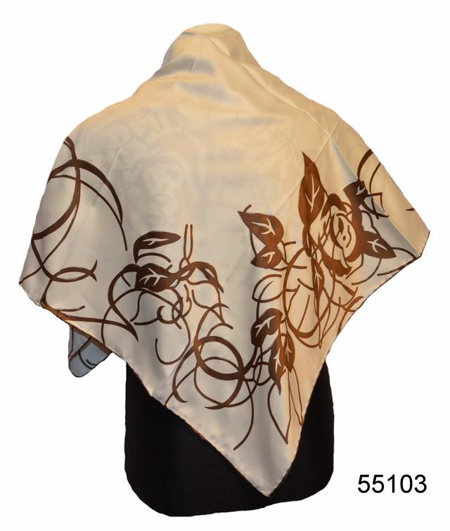 Шелковый бежевый атласный платок 1
