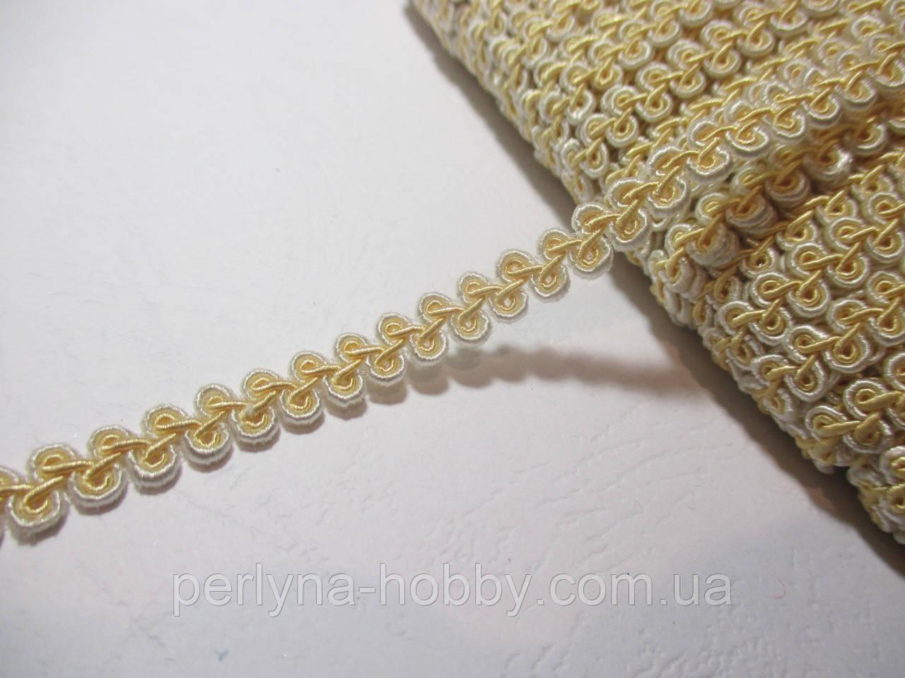 Тасьма декоративна Тасьма декоративна шанель вузька 6мм, кремова з пастельним жовтим