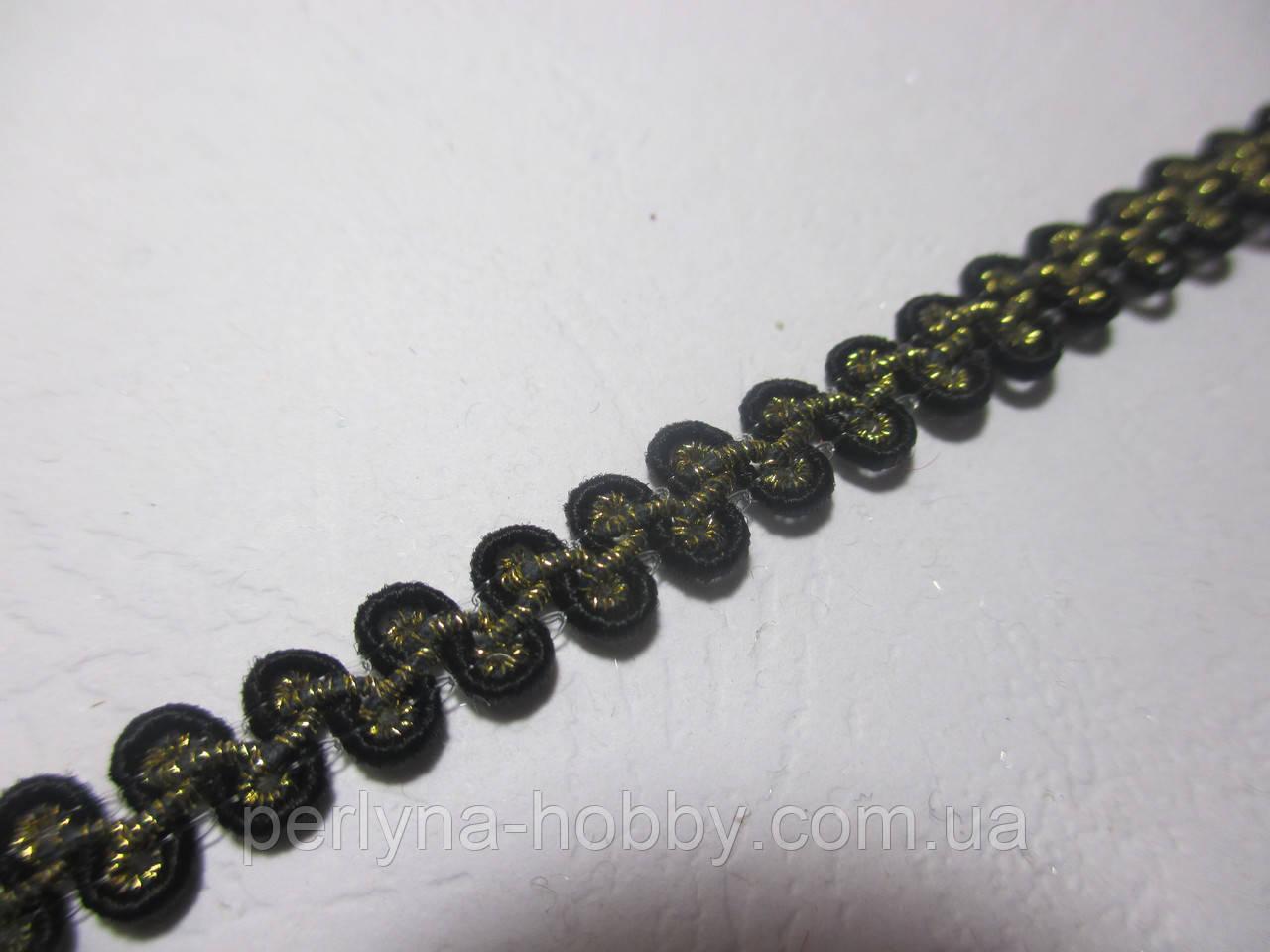 Тесьма декоративная Тасьма  декоративна шанель вузька 6мм,  чорна з золотою ниткою
