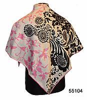 Шелковый черно-розовый атласный платок, фото 1
