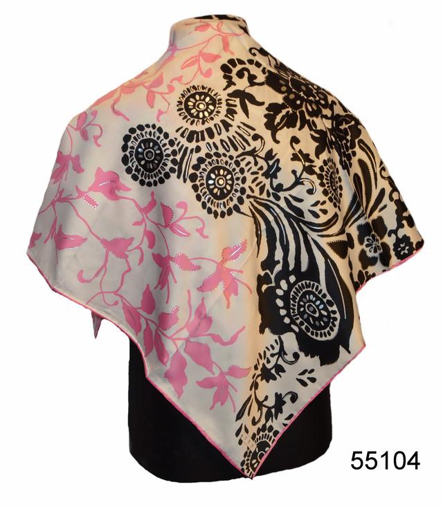 Шелковый черно-розовый атласный платок 1