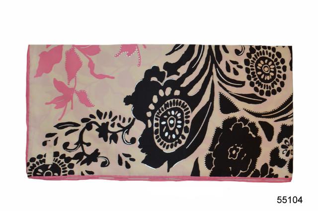 Шелковый черно-розовый атласный платок 2