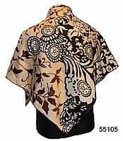 Шелковый черно-коричневый атласный платок, фото 1