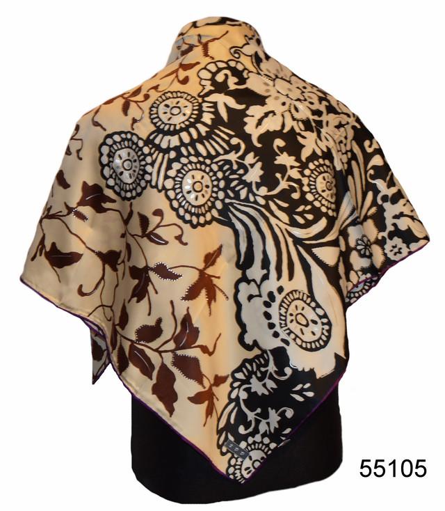 Шелковый черно-коричневый атласный платок 1