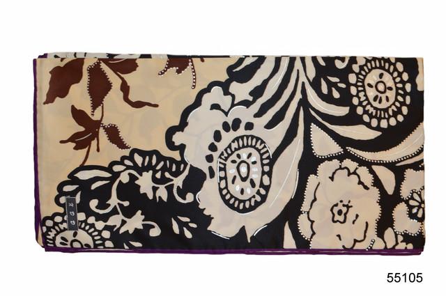 Шелковый черно-коричневый атласный платок 2