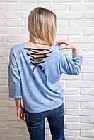 Модная женская кофточка свободного фасона с лентой шнуровкой на спине 44,46