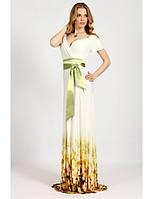 Трикотажное платье макси с атласным поясом