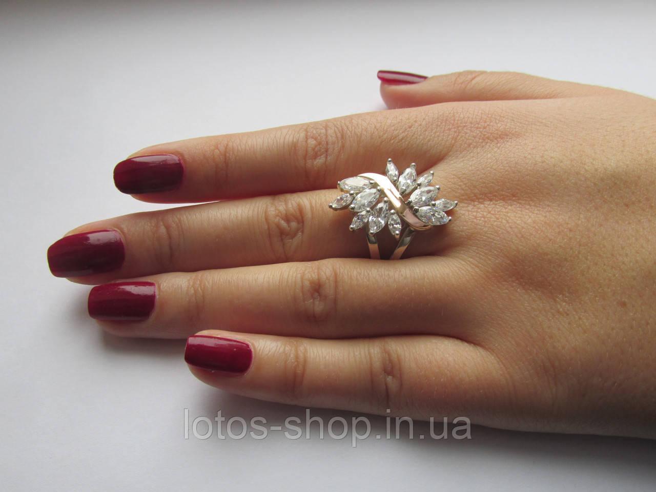 "Серебряное кольцо с золотыми пластинами""Жар-птица"""