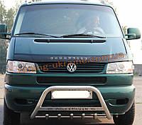 Защита переднего бампера кенгурятник с надписью  из нержавейки на Volkswagen T4 1990-2003