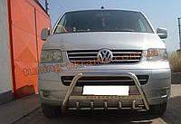 Защита переднего бампера кенгурятник с надписью  из нержавейки на Volkswagen T5 2003-2010