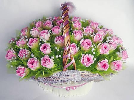 """Корзина розовых роз """"Мария"""""""