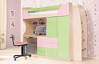 Комплект мебели для детской комнаты Комби фисташка/розовая (SM) 2260*1970*880 детская кровать горка со столом