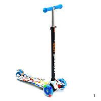 Самокат Бест Скутер Макси 3 - 12 лет Best Scooter для мальчика светящиеся