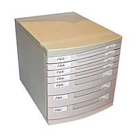 Настольный офисный ящик - НАКОПИТЕЛЬ, с выдвигающимися лотками,US-10, 7 лотков, пластиковый, молочно-серый.