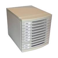 Настольный офисный ящик - НАКОПИТЕЛЬ, с выдвигающимися лотками,US-8, 10лотков, пластиковый, молочно-серый.