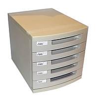 Настольный офисный ящик - НАКОПИТЕЛЬ, с выдвигающимися лотками,US-9, – 5лотков, пластиковый, молочно-серый