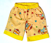 Шорты детские 158, желтый с рисунком