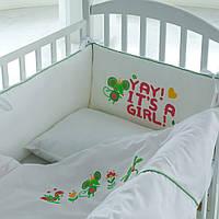 Детская сатиновая постель с бортиками, натуральный хлопковый наполнитель