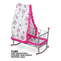 Кроватка FL991 для кукол с балдахином