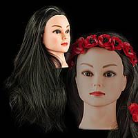 Учебная голова 30% натуральных волос,длина 50-55см, цвет черный, крепление входит в комплект.