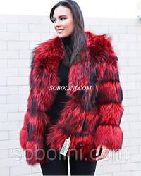 Полушубок из меха норвежской чернобурки, цвет красный, поперечный крой