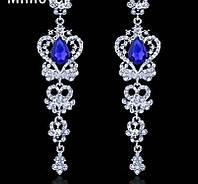 """Удлиненные вечерние серьги-гвоздики """"под серебро""""с синими камнями, высота 9,8 см."""