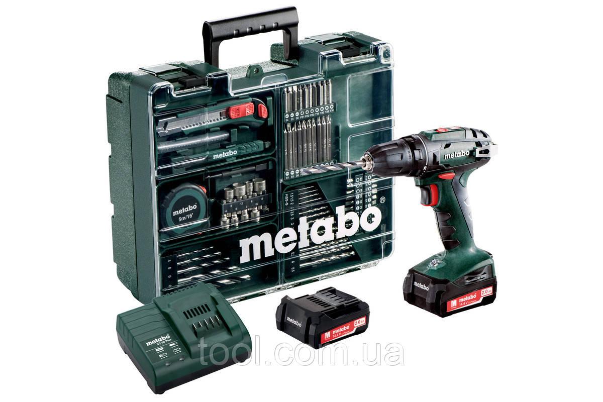 Metabo BS 14.4 (набір аксесуарів, 74шт.) Аку. Дриль-шуруповерт 14.4В, ШЗП 10мм, 2xLi-PowerExtreme 2.0Аг, LED п