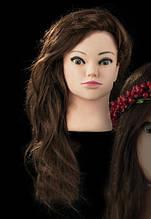 Учебная голова-манекен на штативе 50 см. 80 % натуральных волос, густые