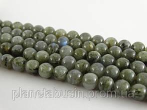 8 мм Лабрадор, CN125, Натуральный камень, Форма: Шар, Отверстие: 1 мм, кол-во: 47-48 шт/нить, фото 2