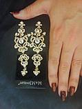"""Комплект подовжені вечірні сережки-гвоздики """"під золото"""" з камінням і браслет, висота 13 див., фото 4"""