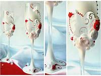 Свадебные бокалы  ручной работы ТЛ-1401 для свадьбы в  бело-красном цвете