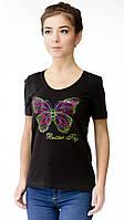 """Футболка женская с аппликцией """"Butterfly""""  из блесток. Модный глубокий вырез,усиленный плечевой шов"""