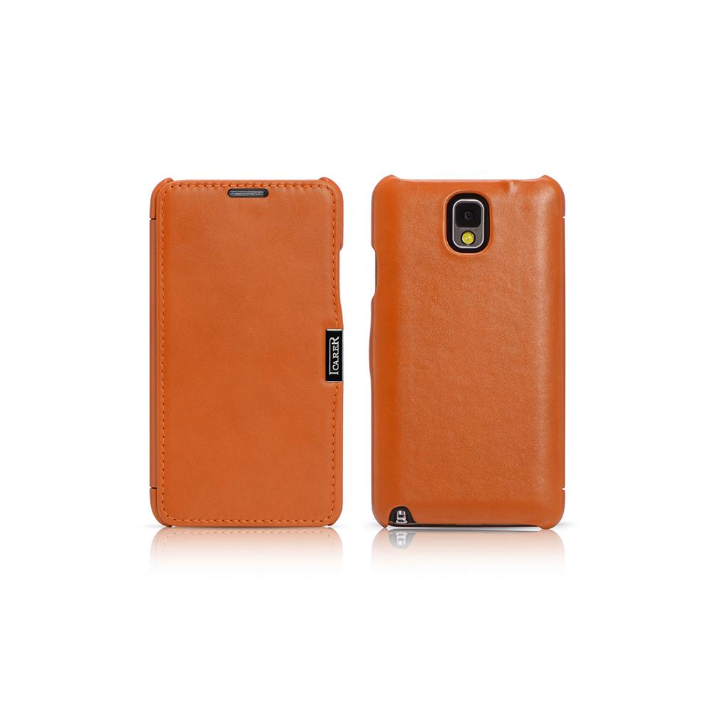 Чехол iCarer для Samsung Galaxy Note 3 Luxury Orange (side-open)
