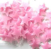 Светящиеся в темноте розовые звезды на стену и потолок 100 шт