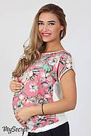 Блузка для беременных Vlada, из штапеля, цветы на коралле, фото 1