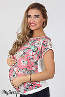 Легкая блузка для беременных Vlada из принтованного штапеля, цветы на коралле*