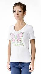 """Футболка женская с  аппликцией """"Butterfly""""из блесток.Модный глубокий вырез,усиленный плечевой шов"""