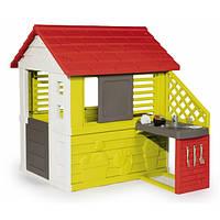 Дом Дачный с летней кухней, красный, 145х110х127 см, 2+