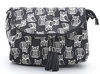 Женская сумка  1632 №2 black (ч/б совы). Клатчи женские, маленькие женские сумки купить недорого