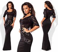 Женское нарядное длинное платье гипюр