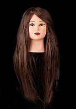 Учебная голова манекен для причесок и плетения, 75-80 см, коричневый, 100% азиатский натуральный волос