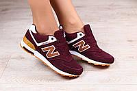 Женские кроссовки, замшевые, бордовые, на шнурках, на белой подошве