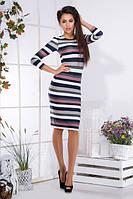 Женское платье в полоску по колено