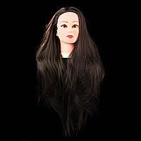 Учебная голова 30% натуральных волос,длина 65-70 см, цвет темно коричневый