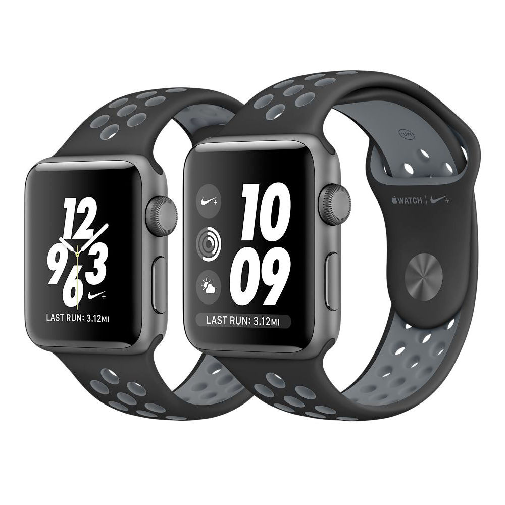 Картинки по запросу Apple Watch Nike+ 38mm Space Gray Aluminum Case With Black/Cool Gray Nike Sport Band (MNYX2)