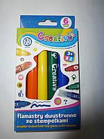 Фломастеры 6 цветов ASTRA двухсторонние со штампами CREATIVO