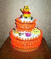 Подарок маме на рождение доченьки - торт из подгузников